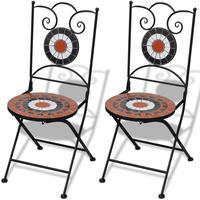vidaXL Bistro stol mosaik terrakotta/vit 2 st