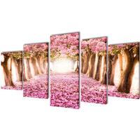 vidaXL Canvastavlor körsbärsblom 5 st 100 x 50 cm