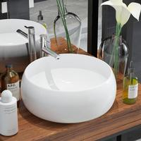 vidaXL Round Basin Ceramic White