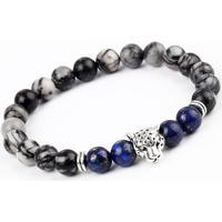 Armband natursten silverfärgad leopard
