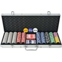 vidaXL pokersæt med 500 laserchips aluminium