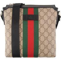 GUCCI Gg Supreme Flat Messenger Bag Beige
