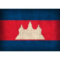 Displate Cambodia Flag on Distressed Canvas 45x32cm Affisch