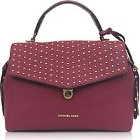 Michael Kors Bristol Mulberry Studded Leather Top Handle Satchel Bag
