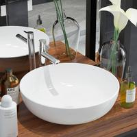 vidaXL washbasin round ceramic