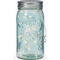Tivoli lights - Lys i blåt glas/Jar light - Sølvtråd