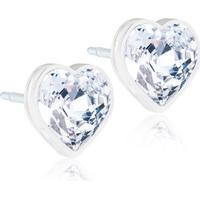 Blomdahl Heart Medical Plastic Earrings w. Swarovski Crystal - 0.6cm (15-0121-01)