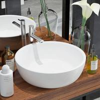vidaXL Basin Round Ceramic White