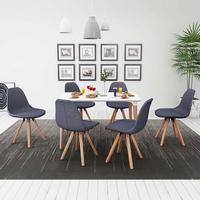 vidaXL Matbord och stolar sju delar vit mörkgrå