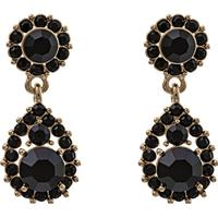 Lily and Rose Sofia Tin Earrings w. Black Swarovski Crystals - 3.5cm