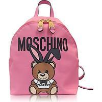 Moschino Teddy Playboy Pink Print Eco Leather Backpack w/Logo