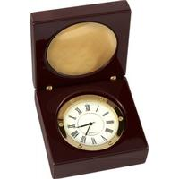 Woodford Wooden Box Clock - Brown/Gold