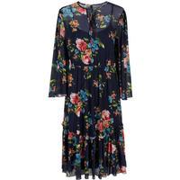 Y.A.S Floral Mesh Dress Blue/Night Sky