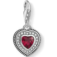 Thomas Sabo Heart Silver/Blackened Charm Pendant w. Red/White Zirconia/Corundum (1478-640-10)