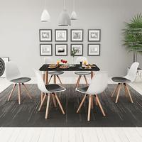 vidaXL Matbord och stolar sju delar svart vit