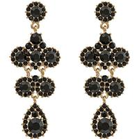 Lily and Rose Miss Kate Tin Earrings w. Black Swarovski Crystals - 6.2cm
