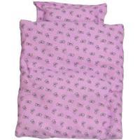 AMleg - dukkeudstyr,  sengetøj i lilla - 40 - 50 cm.