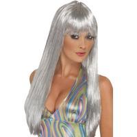 Smiffys Glitter Disco Wig Silver