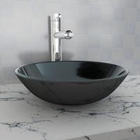 vidaXL Washbasin sink 42 cm black