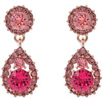 Lily and Rose Sofia Tin Earrings w. Pink Swarovski Crystals - 3.5cm