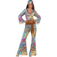 Smiffys Hippy Flower Power Costume Multi-Coloured