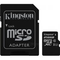 Consumer Electronics Kingston MicroSDXC 256GB Read:80Mb UHS-I with SD Adapter SDC10G2/256GB