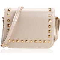 New Women Synthetic Leather Messenger Bag Rivets Decor Flap Hard Casual Party Shoulder Bag