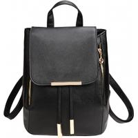 Solid Flap Synthetic Leather Schoolbag Backpack Travel Bag