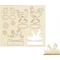 Övriga Tillverkare Höns och blommor - L: 15,5 x 17 cm - Plywood