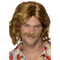 Smiffys 70's Super Trouper Wig & Moustache Brown