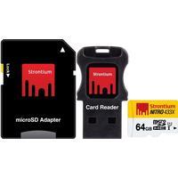 Strontium Nitro Micro SDXC kort UHS-I U1 - Mobility Kit - 64 GB