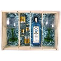 Bombay Sapphire Distilled London Dry Gin (70cls) with Fever-Tree Premium Indian Tonic Water and Two Designer Gin Glasses in a Deluxe Gift Box
