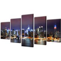 vidaXL Canvastavlor set om 5 New York Skyline 100 x 50 cm