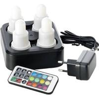 LED lys, Duni, 7cm, Ø4cm, 12 timer, sæt á 4 stk., med farvet lys *Denne vare tages ikke retur*