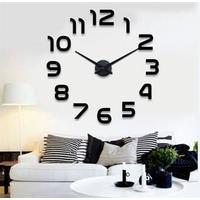 Luxus moderne stort 120 x 120 cm selvklæbende vægur klassisk design sort