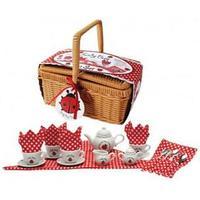 Tesæt med Mariehøne i porcelæn i picnickkurv