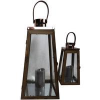 Lanternesæt af træ og kobber, 2 stk. - 50 og 35 cm.