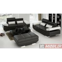 XL-Møbler Lazio Sofagruppe Sort og hvid