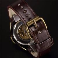 Vido SHENHUA Retro Vintage Bronze RS komfortable PU Leder Band Automatic Skelett Armbanduhr ausgezeichnete Skelett lässig Steampunk Antique Style Herrenuhr