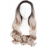 Rapunzel of Sweden Lace Front Peruk Long Curly Black Brown/Grey 60cm
