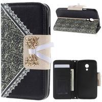 MOBILCOVERS.DK Motorola Moto G 4G (2nd Gen.) Grace Lace Leather Wallet Etui Sort