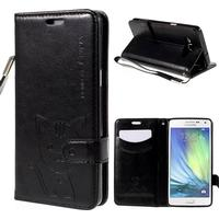 Samsung Galaxy A5 LEIERS Domi Cats Series Leather Wallet Etui Sort