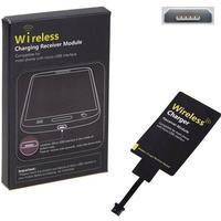 Universal Micro USB Qi Trådløs Modtager - Trådløs Qi Oplader - Bred Bund / Smal Top