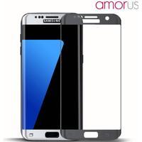 Amorus Samsung Galaxy S7 Edge Complete Covering Hærdet Glas Beskyttelsesfilm Mørkegrå