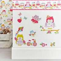 Olive The Owl Stickers Pink