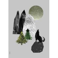 I LOVE MY TYPE, Wolf - Light Grey, A3, 3 på lager