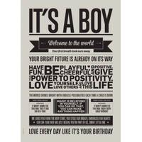 I LOVE MY TYPE, It's a Boy - Warm Grey, A3 , 2 på lager