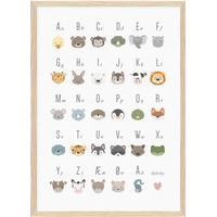 ABC plakat med søde dyr (A3)