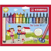 Stabilo - Trio Scribbi triangular fibre-tip pen - Set with 14 colours