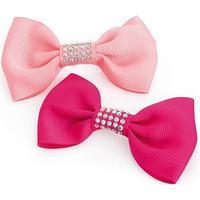 2 Hårsløjfer i Lyserød & Pink med Krystalperler